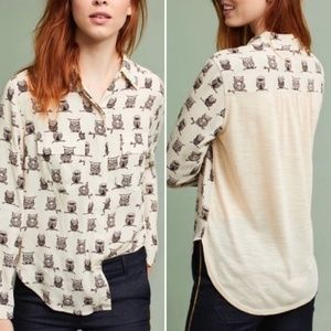 LN Anthropologie Porridge Owl Shirt Tunic Brown S